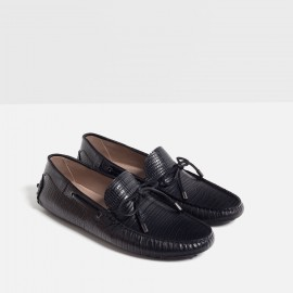 ZARA EMBOSSED LEATHER LOAFER'S-BLACK