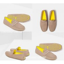 ZARA LEATHER SUEDE LOAFER'S WITH CONTRAST SOLE-BEIGE