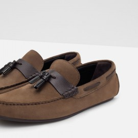ZARA SUEDE DRIVING SLIP ON-BROWN SUEDE